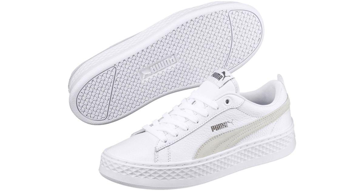 29741ef6dfe Lyst - PUMA Smash Platform Leather Women s Sneakers in White