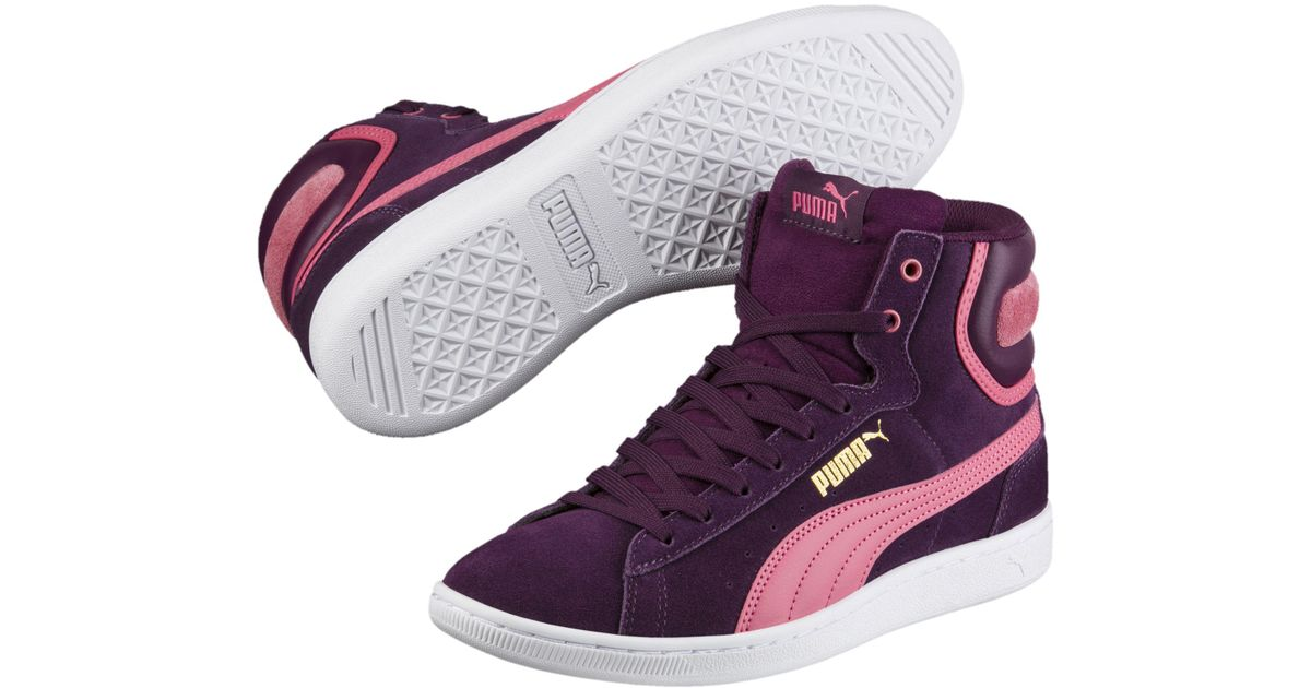 88d18a1bab32f8 Lyst - PUMA Vikky Mid Women s High Top Sneakers in Purple