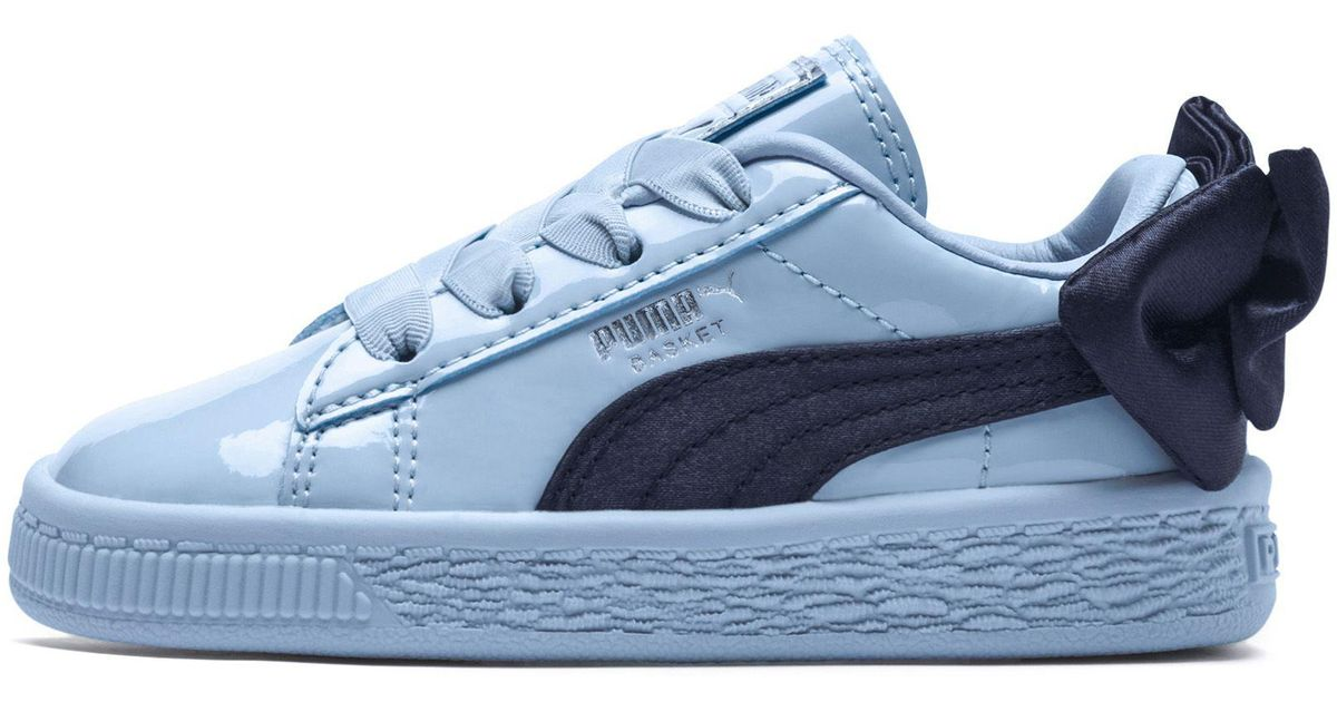a7a12eedb5ed07 Lyst - PUMA Basket Bow Patent Kid s Sneakers in Blue