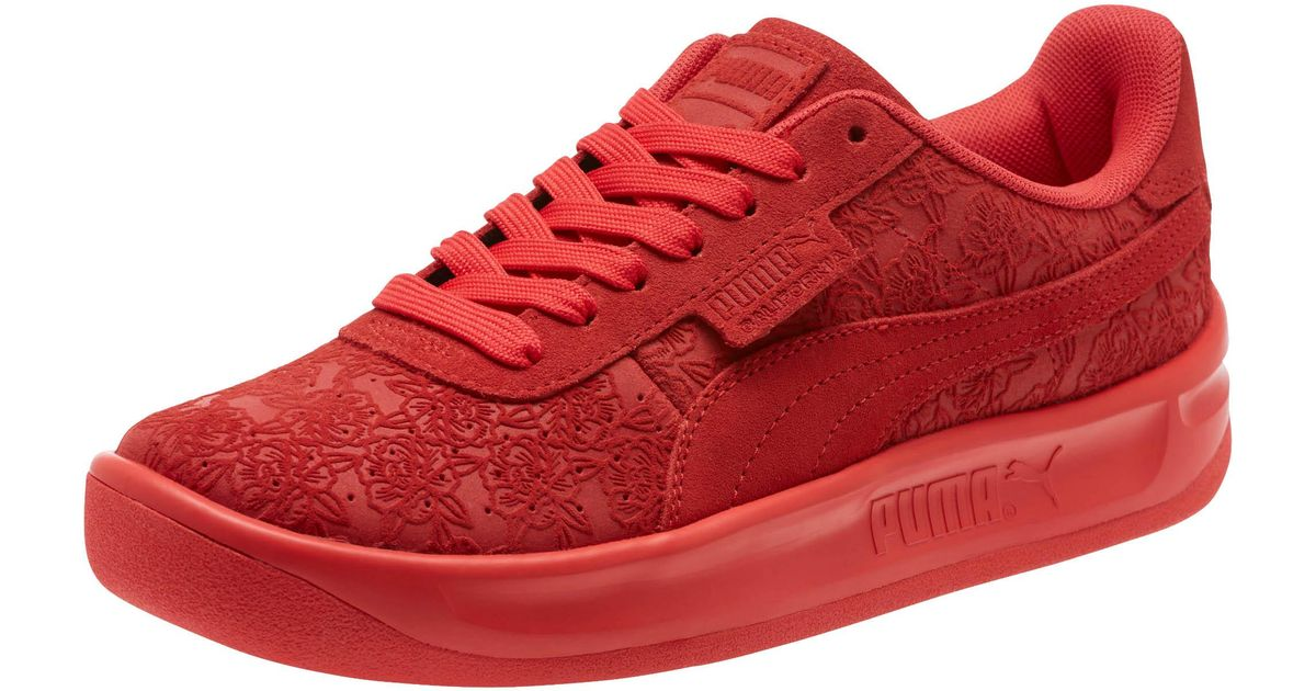 PUMA - Red California Embossed Floral Women s Sneakers - Lyst f189461a7