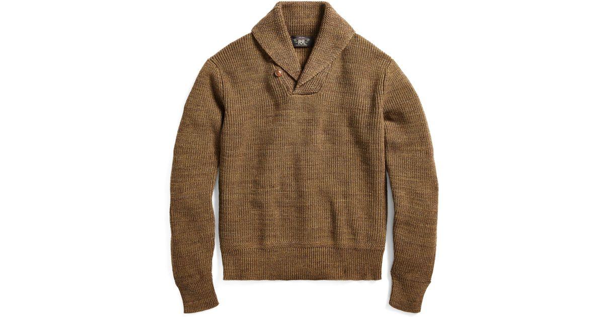 Lyst - Rrl Cotton Shawl-collar Sweater for Men