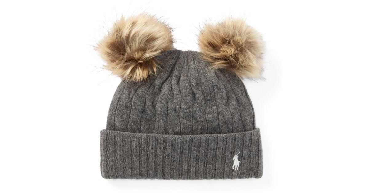 51cf30032ce94 Polo Ralph Lauren Double-pom-pom Wool Hat - Lyst