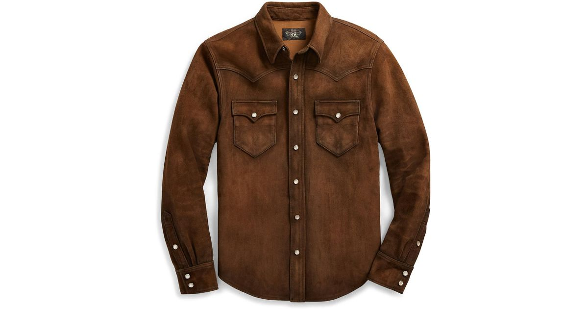 61b324817e3 Lyst - RRL Suede Shirt Jacket in Brown for Men