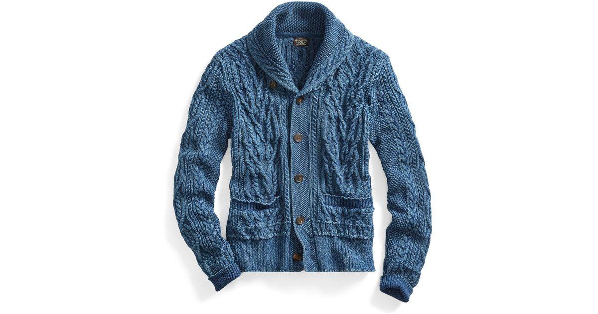 Lyst - Rrl Indigo Cotton Shawl Cardigan in Blue
