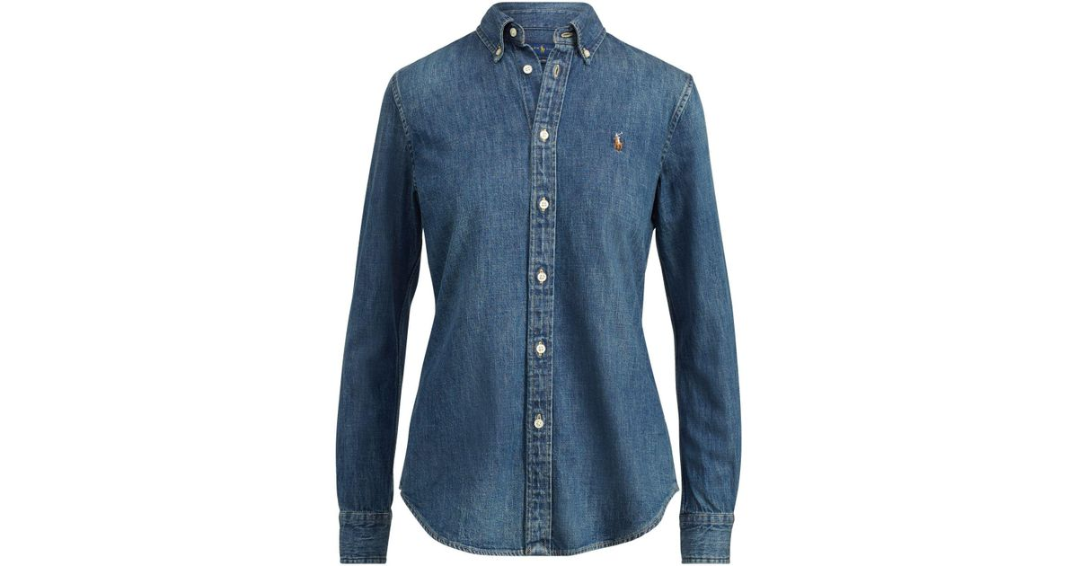 9148fee9a8 Polo Ralph Lauren Custom-fit Denim Shirt in Blue - Lyst