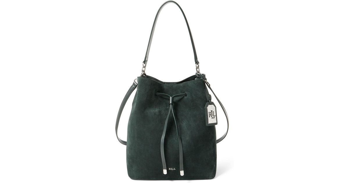 71bf25c18f Ralph Lauren Suede Debby Drawstring Tote in Green - Lyst