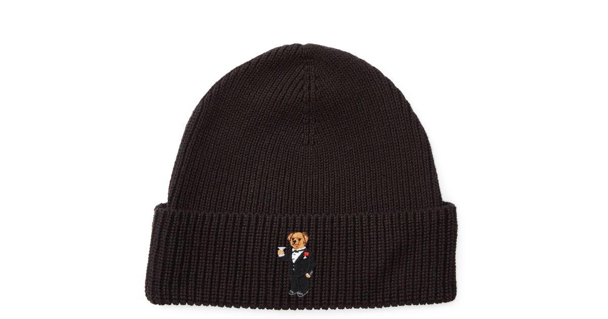 8bccae07f3d95 Polo Ralph Lauren Martini Polo Bear Ribbed Hat in Black for Men - Lyst