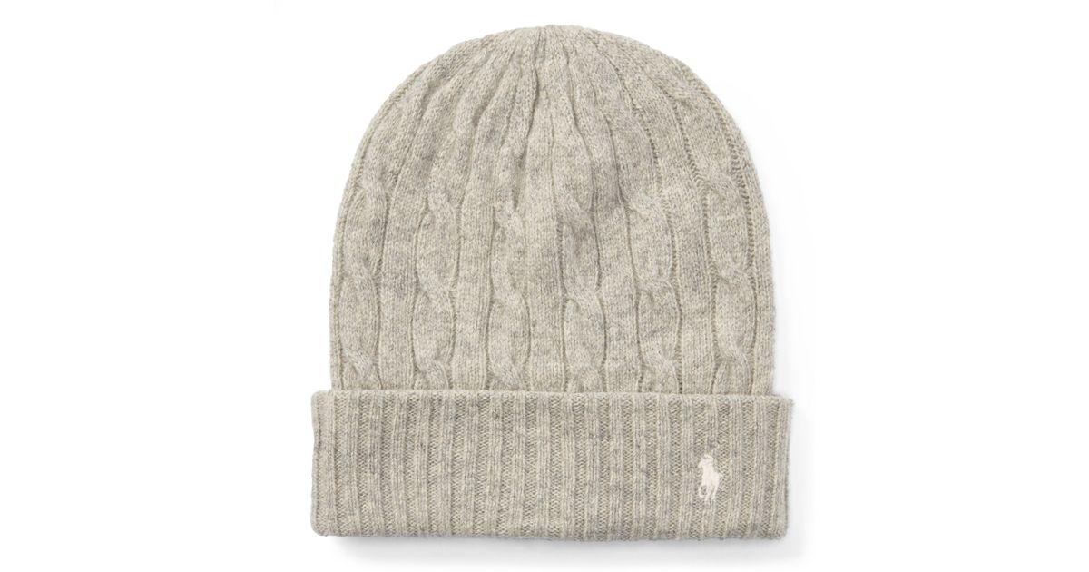d11a6f924fe Lyst - Polo Ralph Lauren Cable Wool-cashmere Hat in Natural