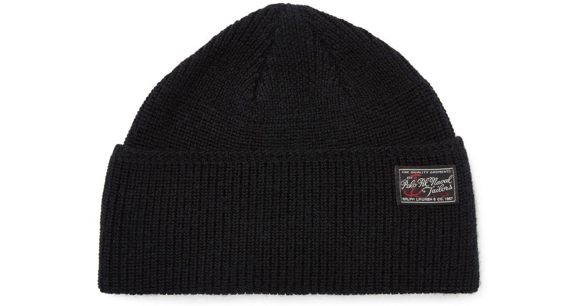 2e1897327fe Polo Ralph Lauren Naval-brim Knit Hat in Black for Men - Lyst