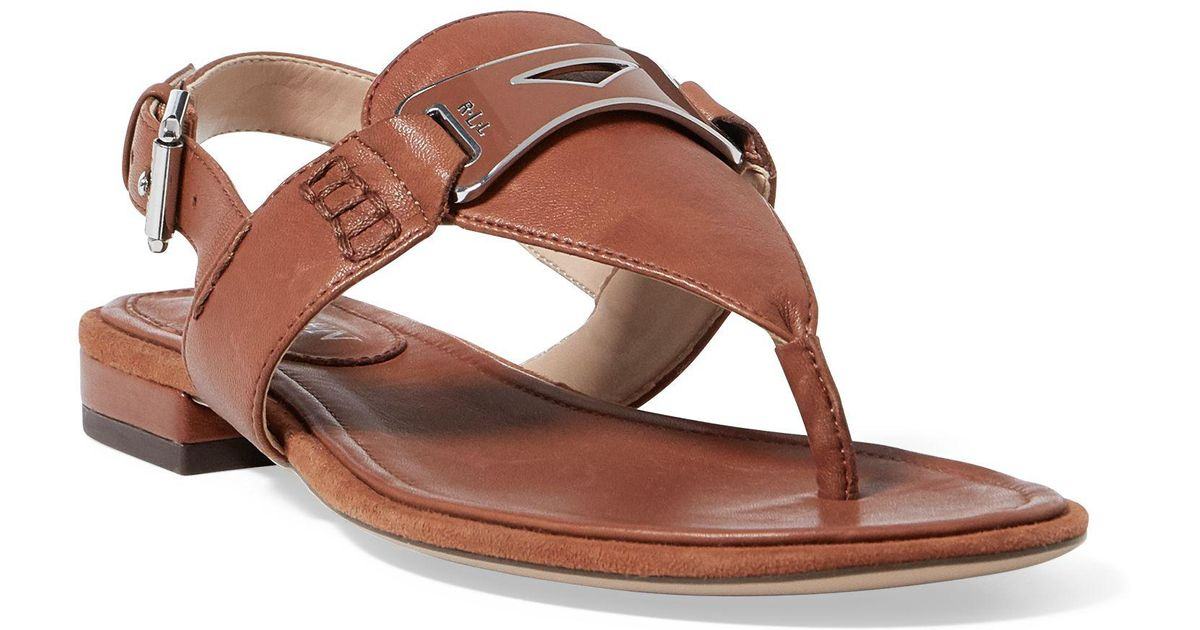 1e8b6b277714 Lyst - Ralph Lauren Dayna Leather Thong Sandal in Brown