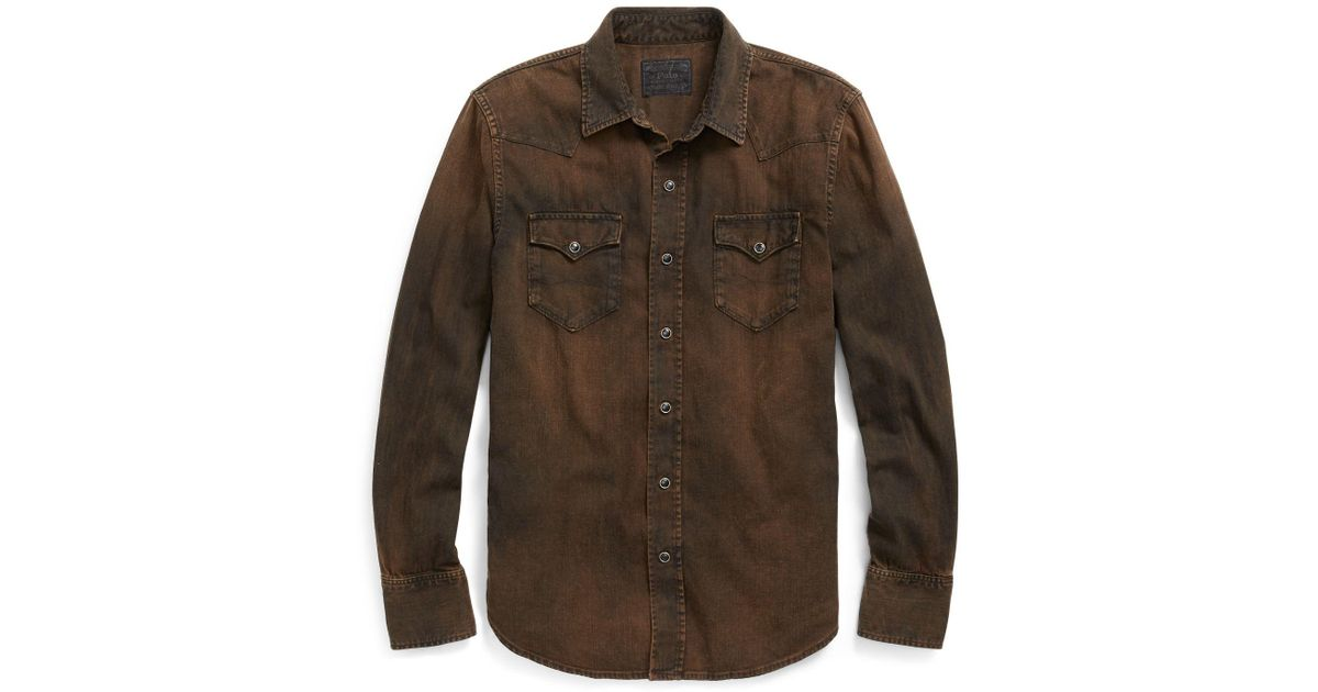 a724867733 Lyst - Polo Ralph Lauren Classic Fit Denim Shirt in Brown for Men