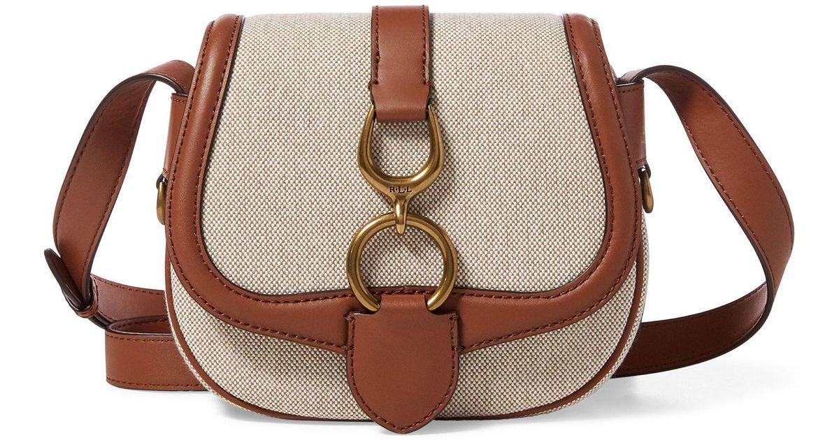 ... coupon code for ralph lauren cotton saddle bag in brown lyst cd332 742b9 29b82ecbcf