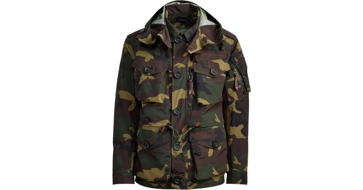 951a3dc25 Polo Ralph Lauren Camo Hooded Utility Jacket for Men - Lyst