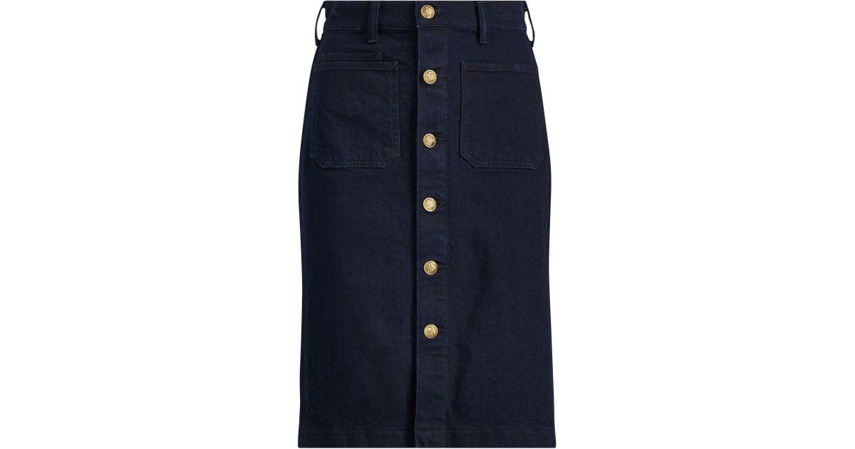 f79c725f0e1 Polo Ralph Lauren Stretch Denim Pencil Skirt in Blue - Lyst