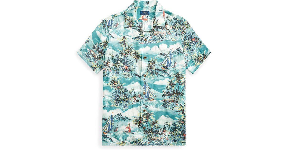 Lyst - Polo Ralph Lauren Classic Fit Tropical Shirt in Blue for Men c8db7fa9e417