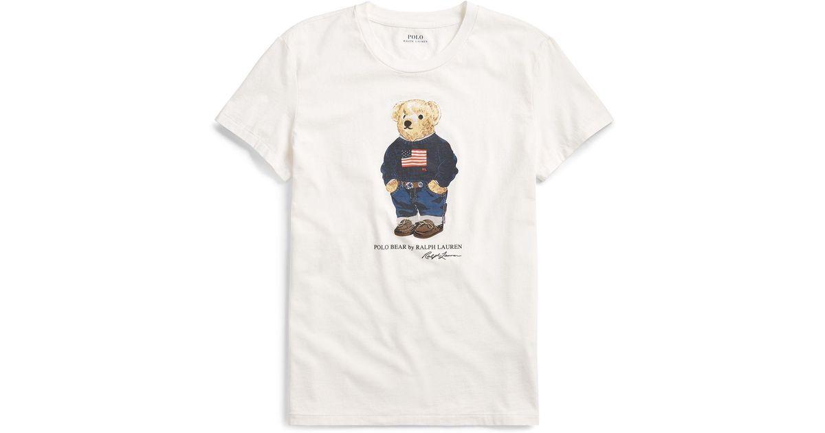 2fd4d32a Polo Ralph Lauren Flag Bear Cotton T-shirt - Lyst