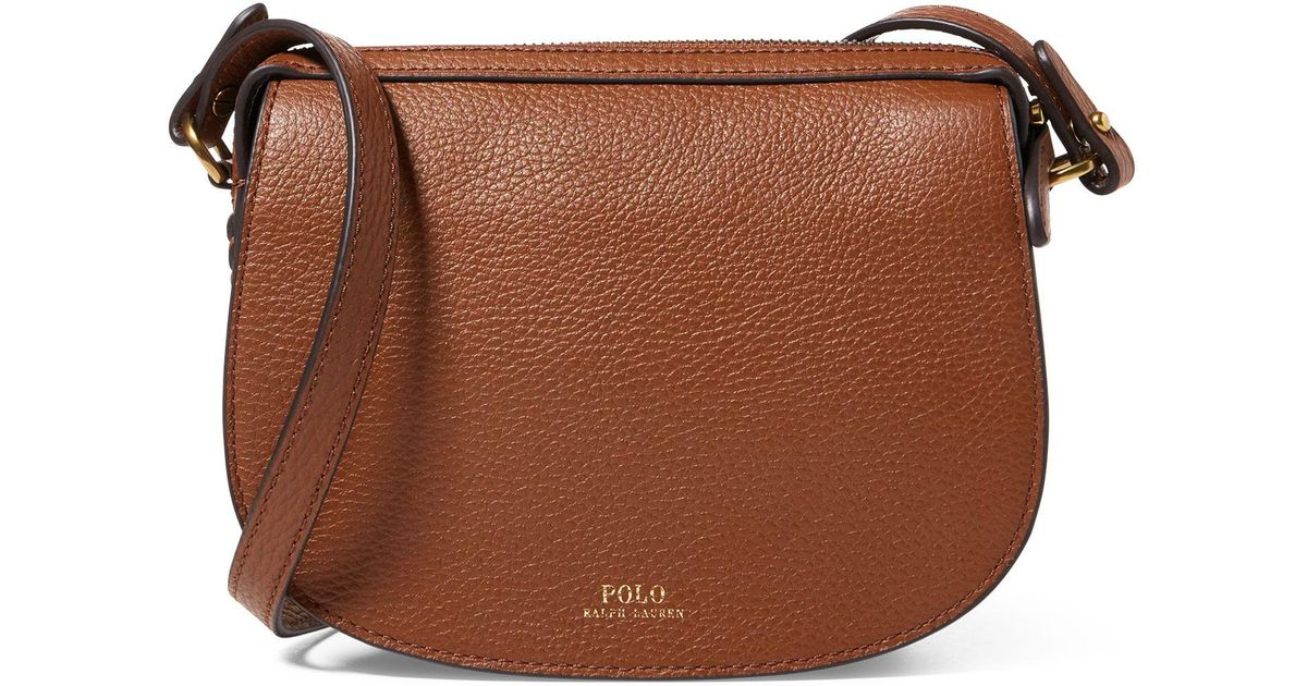 25c51a3fbe Polo Ralph Lauren Leather Mini Crossbody Bag in Brown - Lyst