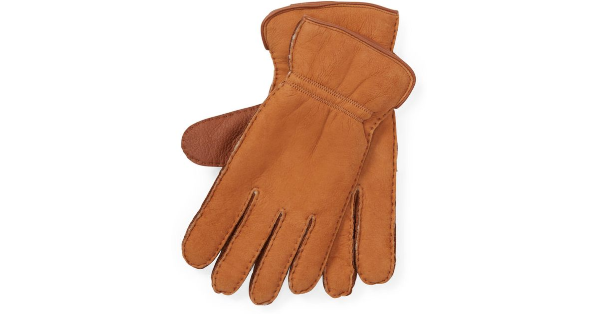 Lyst - Polo Ralph Lauren Deerskin Shearling Gloves in Natural for Men c2fc707b85b99