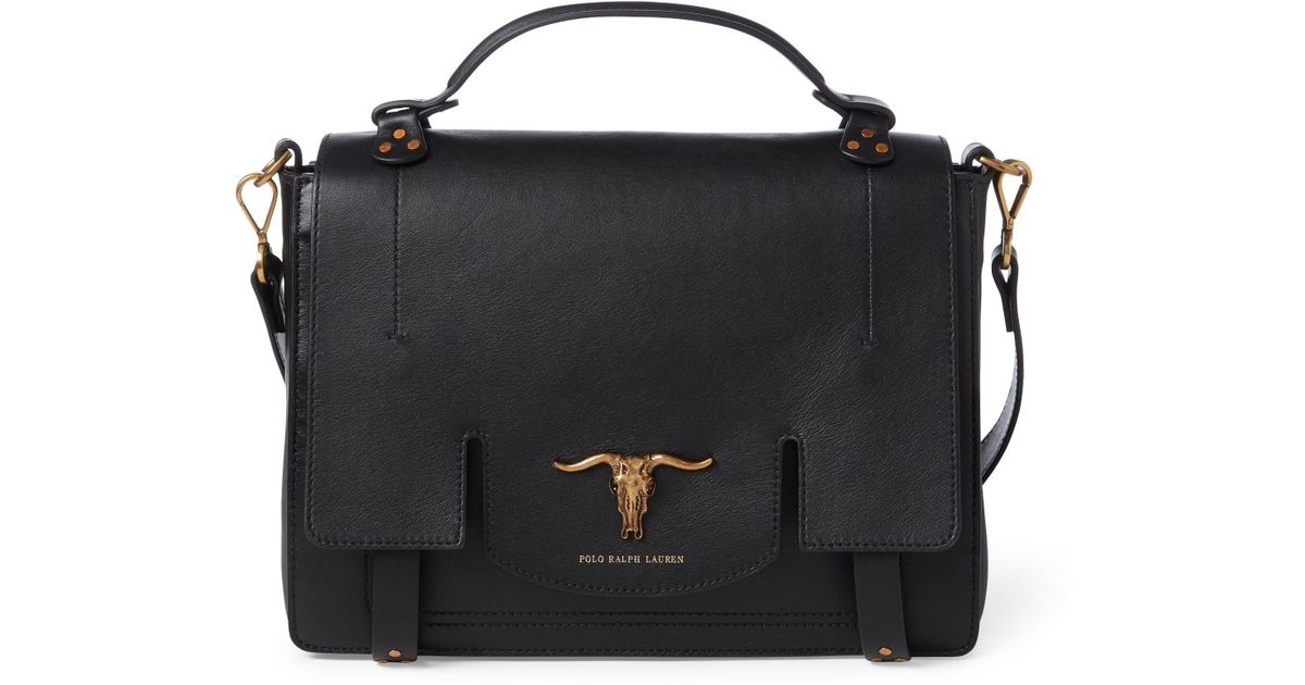 fb51071c967 Polo Ralph Lauren Leather Schooly Bag in Black - Lyst