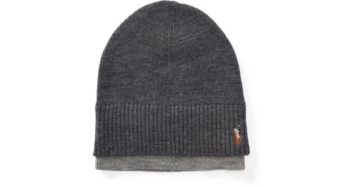 348d7ad795e Lyst - Polo Ralph Lauren Layered Merino Wool Watch Cap in Gray for Men
