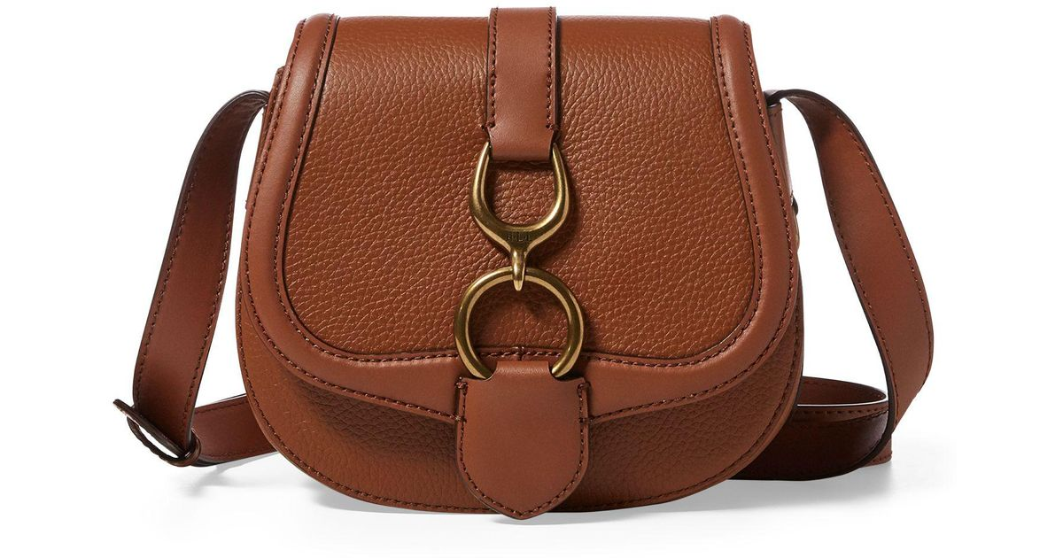 e2d4443e733 ... discount ralph lauren leather small saddle bag in brown lyst a6598 4cf9d