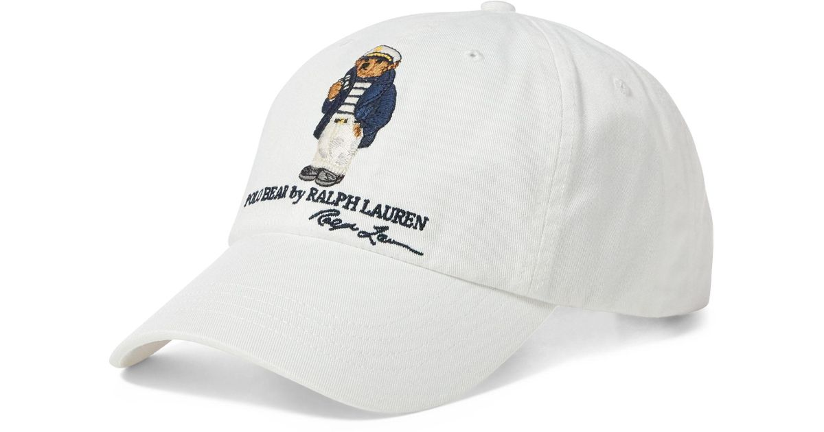 3eab4569 Polo Ralph Lauren Sailor Polo Bear Cap in White for Men - Lyst