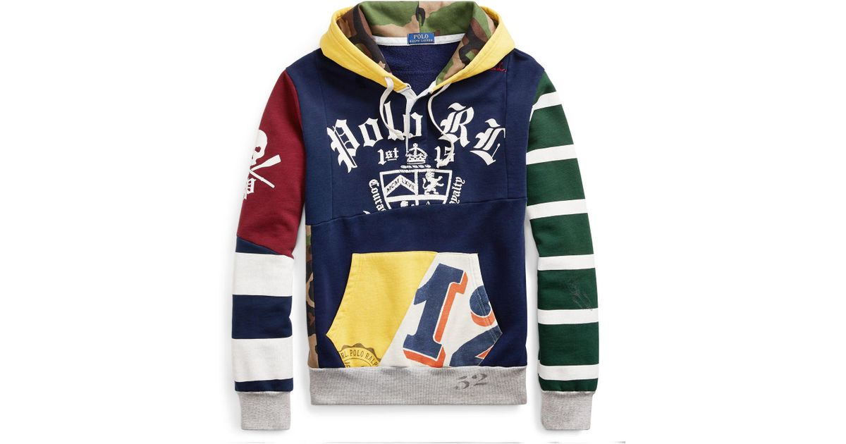 Lyst - Polo Ralph Lauren Patchwork Rugby Hoodie in Blue for Men 72d07aa23