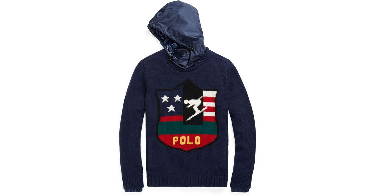 4fa2f94236a88 Polo Ralph Lauren Intarsia Wool Hooded Sweater in Blue for Men - Lyst