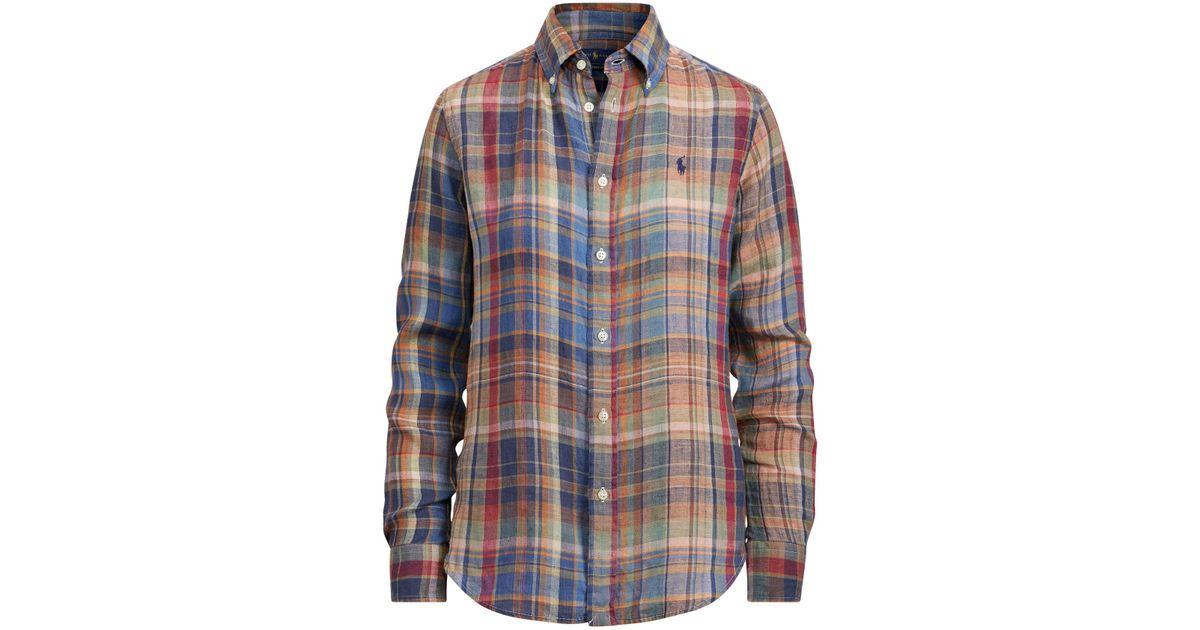 0e32c260 Polo Ralph Lauren - Blue Classic Fit Plaid Linen Shirt - Lyst