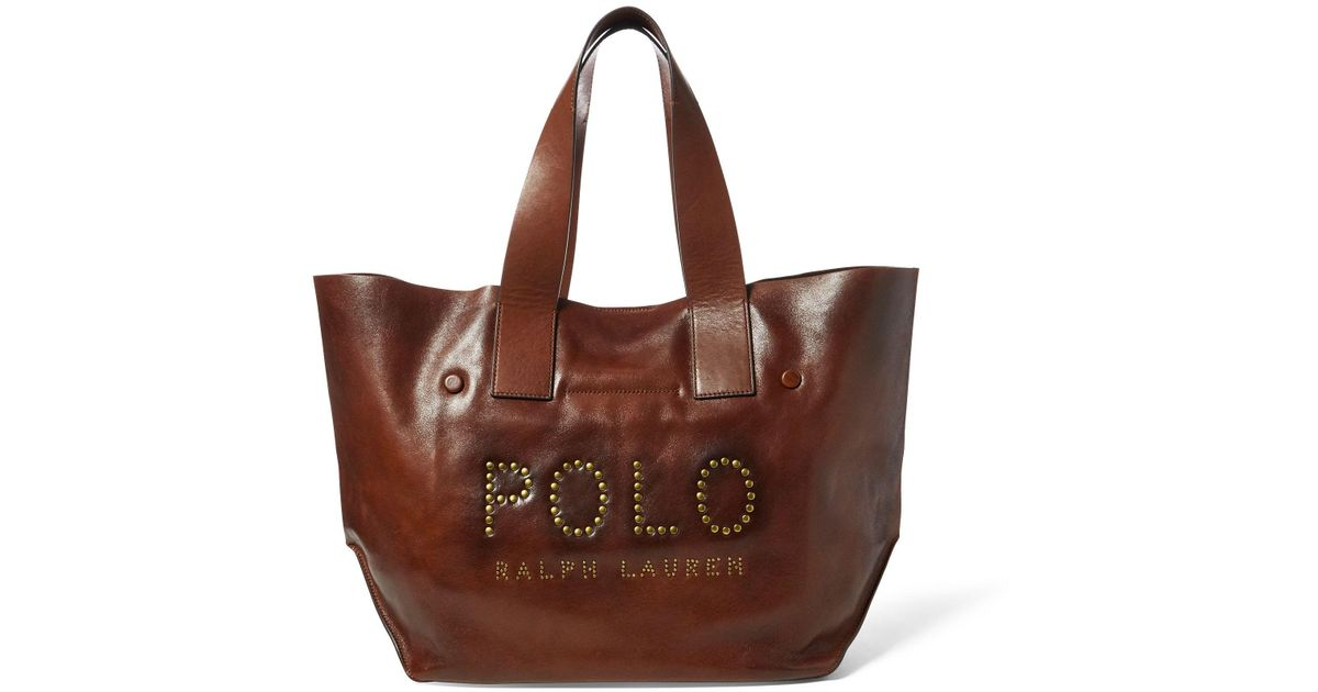 1e4ae10949 Polo Ralph Lauren Studded Leather Polo Tote Bag in Brown - Lyst