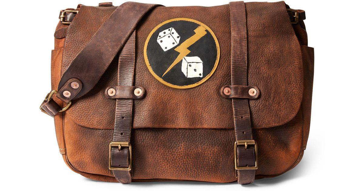 601e62af3b RRL Distressed Leather Saddle Bag in Brown for Men - Lyst