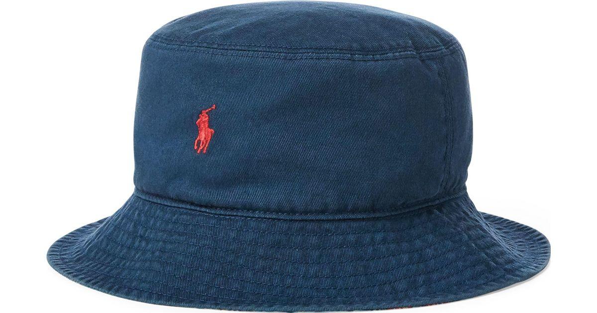 90898a2c2ed Ralph Lauren Reversible Chino Bucket Hat in Blue for Men - Lyst