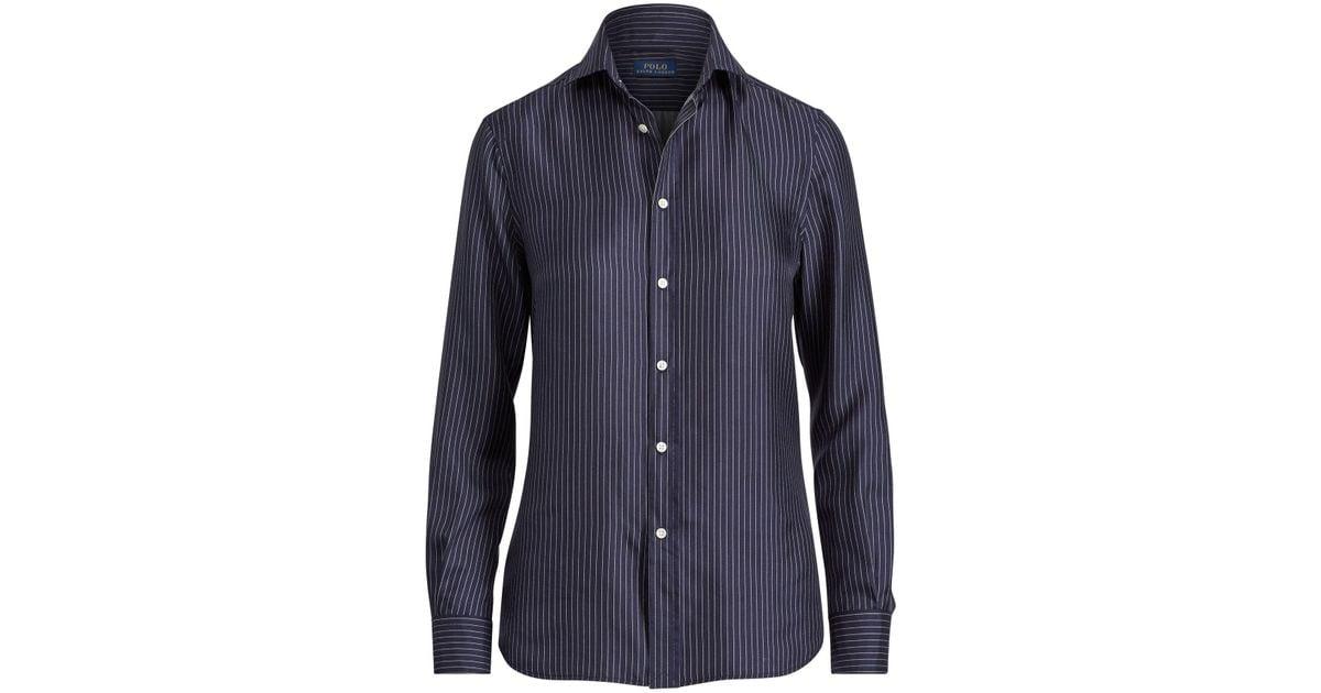dfff30422fb4d3 Lyst - Polo Ralph Lauren Pinstripe Silk Button-down in Blue