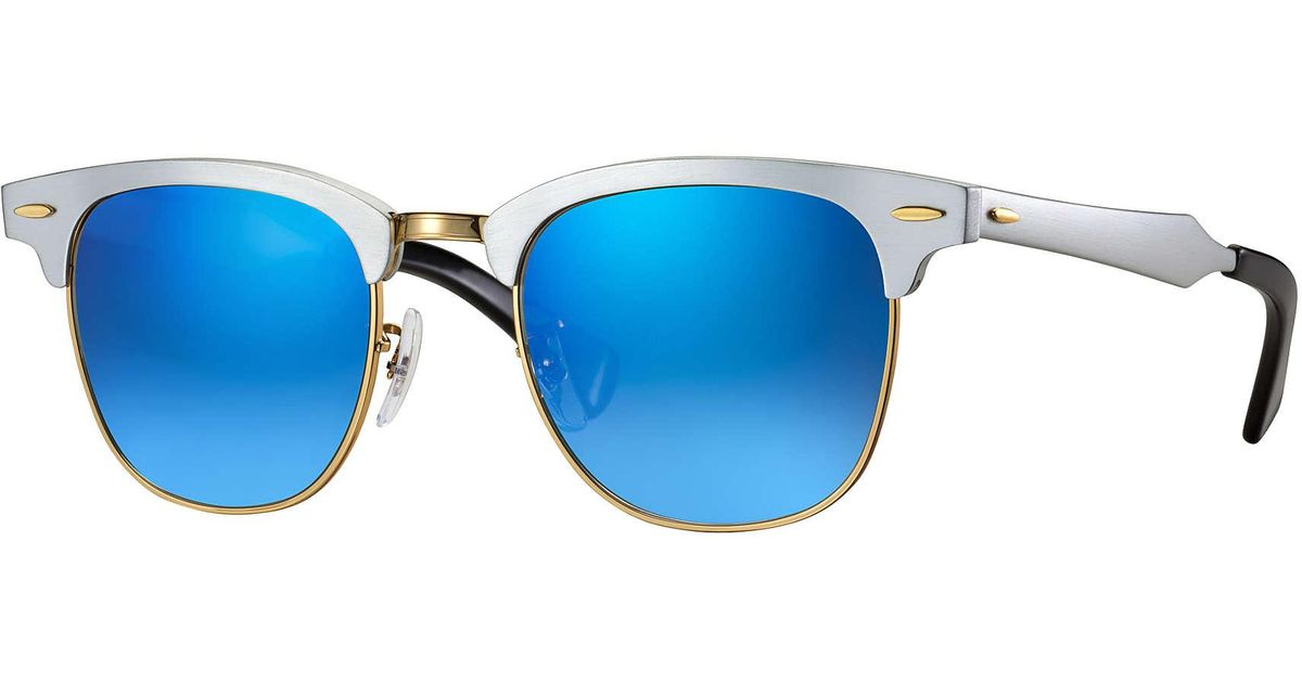 5d3fdf1cff05d Lyst - Ray-Ban Clubmaster Aluminum Flash Lenses Gradient in Blue for Men