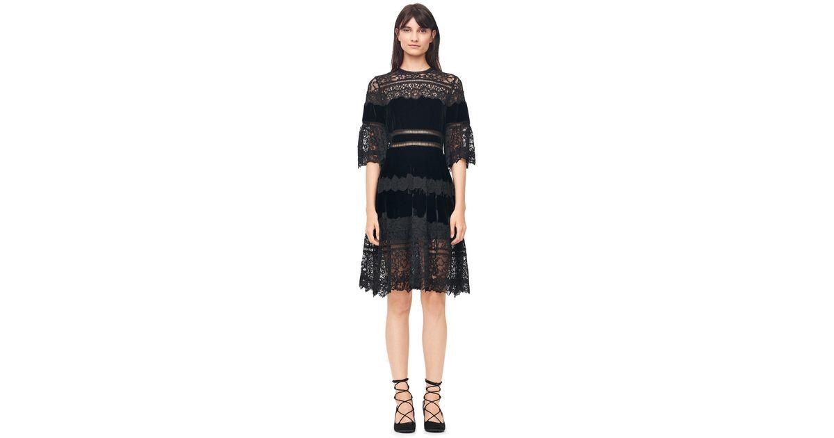 d62c61df9e11 Lyst - Rebecca Taylor Velvet   Lace Dress in Black