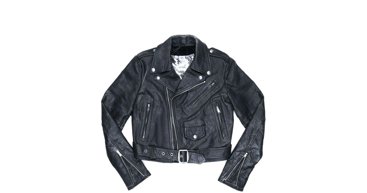 33f0e139f3de Lyst - Re Done Reconstructed Leather Moto W  Silver in Black for Men