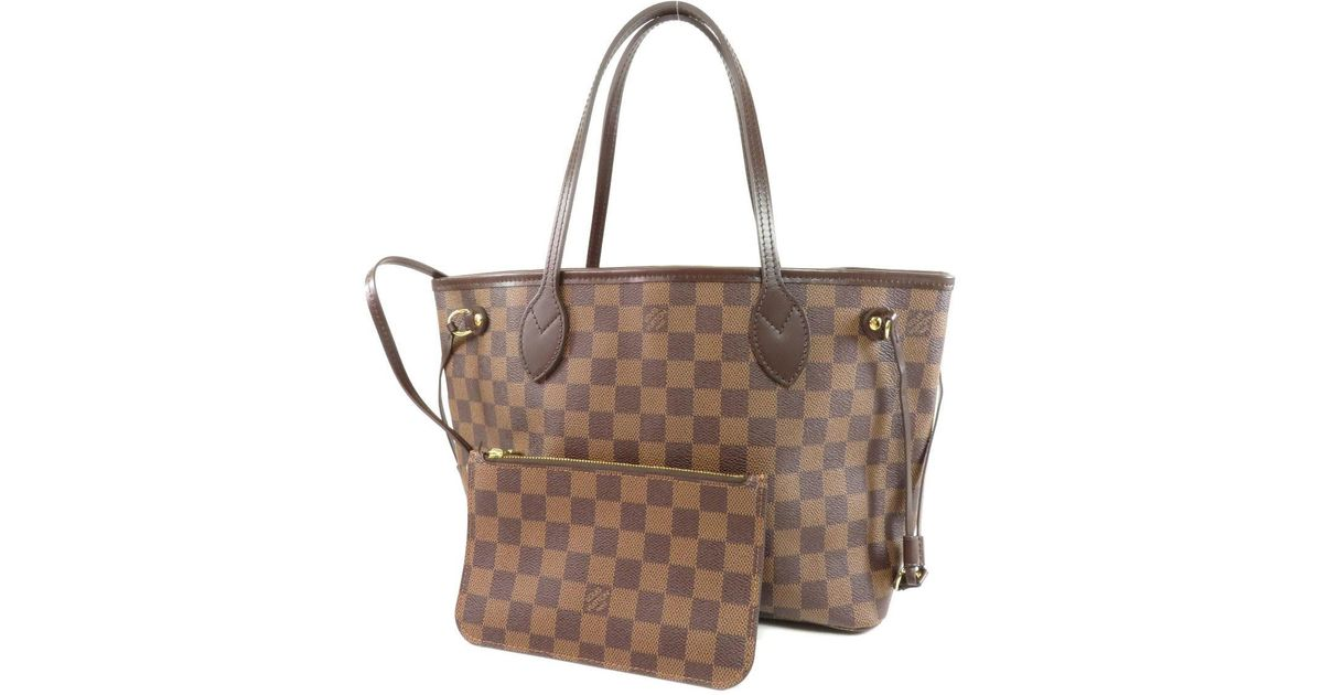 Lyst - Louis Vuitton Damier Canvas Tote Bag N41359 Neverfull Pm in Brown c49b5906a1705
