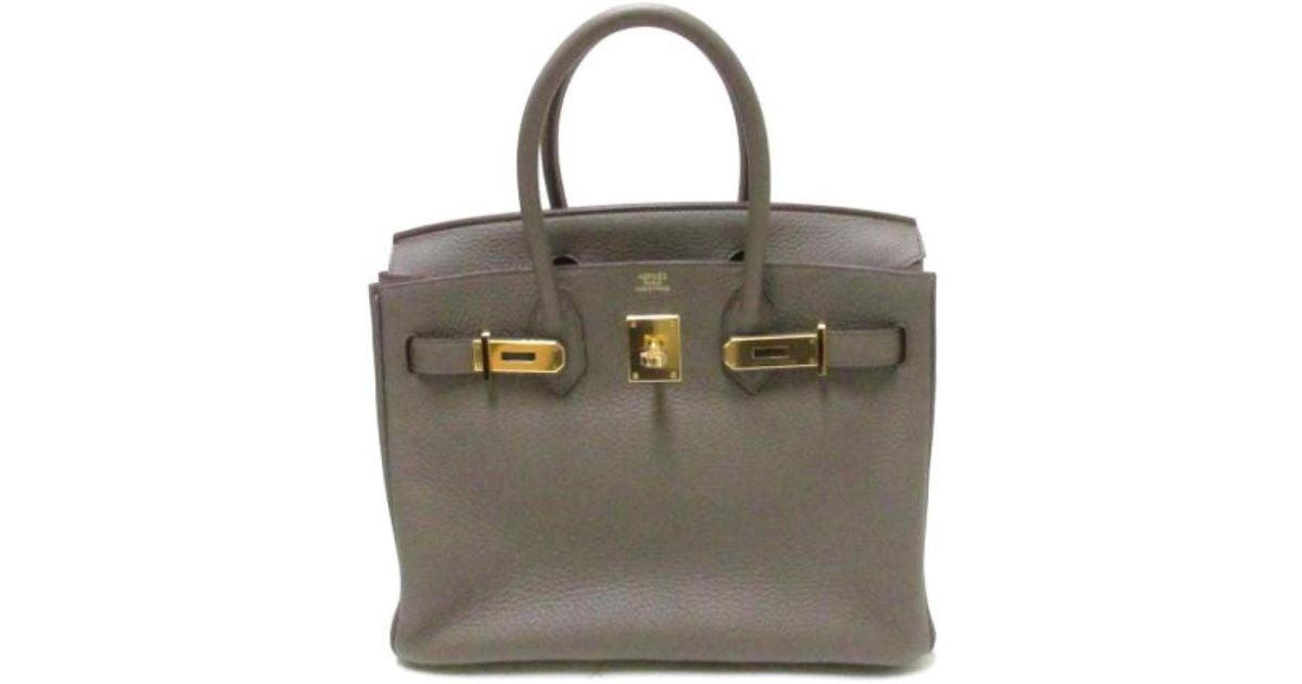 2021c0d600 Lyst - Hermès Birkin 30 Hardware Etain Gold(metal Fittings gold) Clemence  Leather in Gray