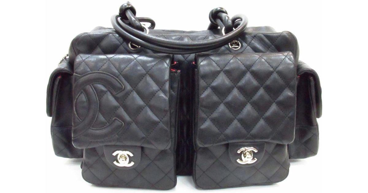 da5208fdb607 Chanel Cambon Multi Pocket Hand Boston Bag Lamb Skin Leather Black Vintage  in Black - Lyst