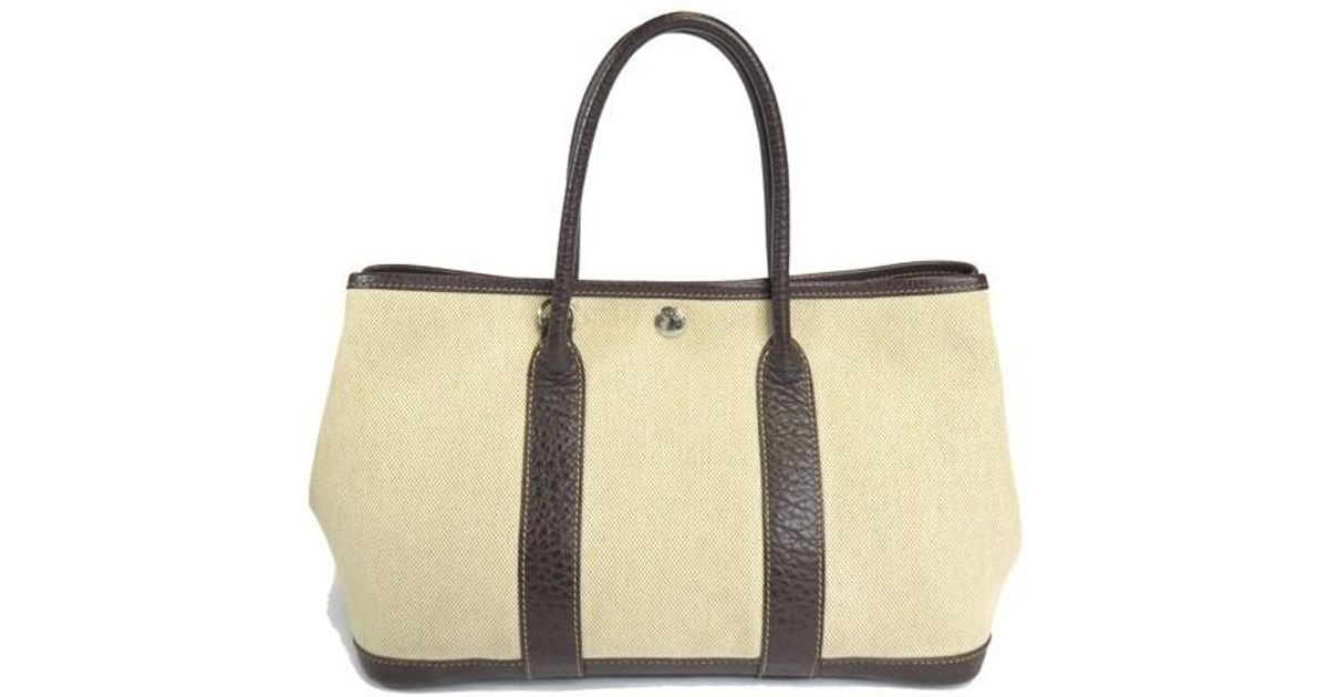 Lyst - Hermès Garden Party Tpm Tote Bag Toile H Canvas Leather in Brown 17bdc57287efc
