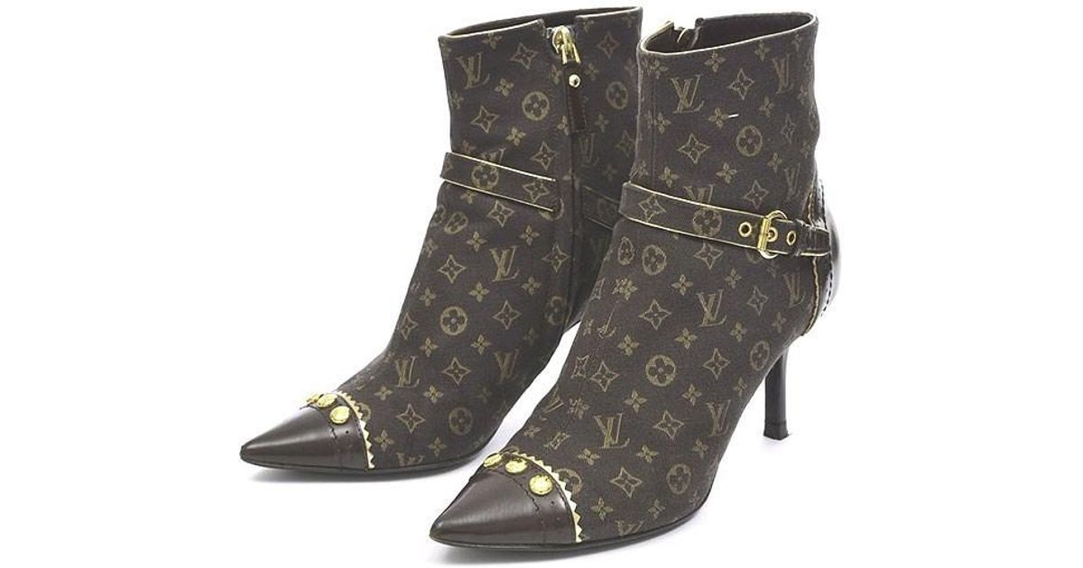 Lyst Louis Vuitton Monogram Mini Heel Short Boots Women S 34 1 2