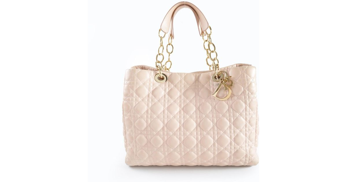 49edd63e8ec0 Lyst - Dior Cannage Soft Shopper Tote In Light Pink Lambskin And Pale Gold  in Natural