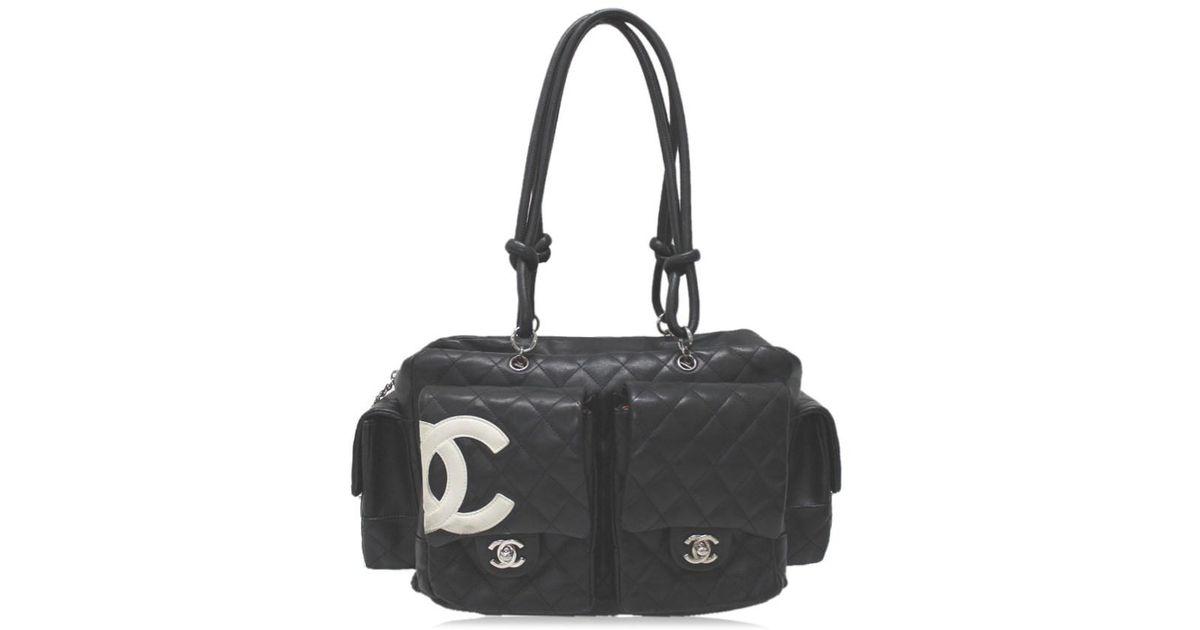 9bda44e27e25 Chanel Cambon Line Multi-pocket Bag Tote Bag Shoulder Bag Black Calf  Leather Skin/ A25173 in Black - Lyst