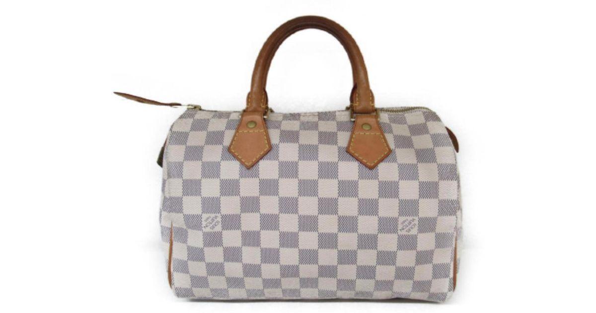 3e037072f9ab Lyst - Louis Vuitton Speedy 25 Boston Hand Bag Damier Azur N41534 in White