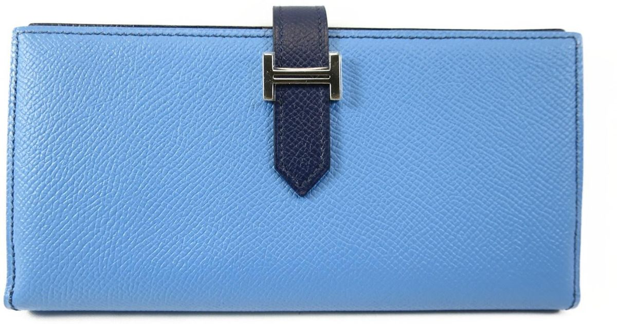64d85131e6c Lyst - Hermès Bearn Soufflet Long Wallet Blue Saphir Blue Paradise Epsom  Leather in Blue