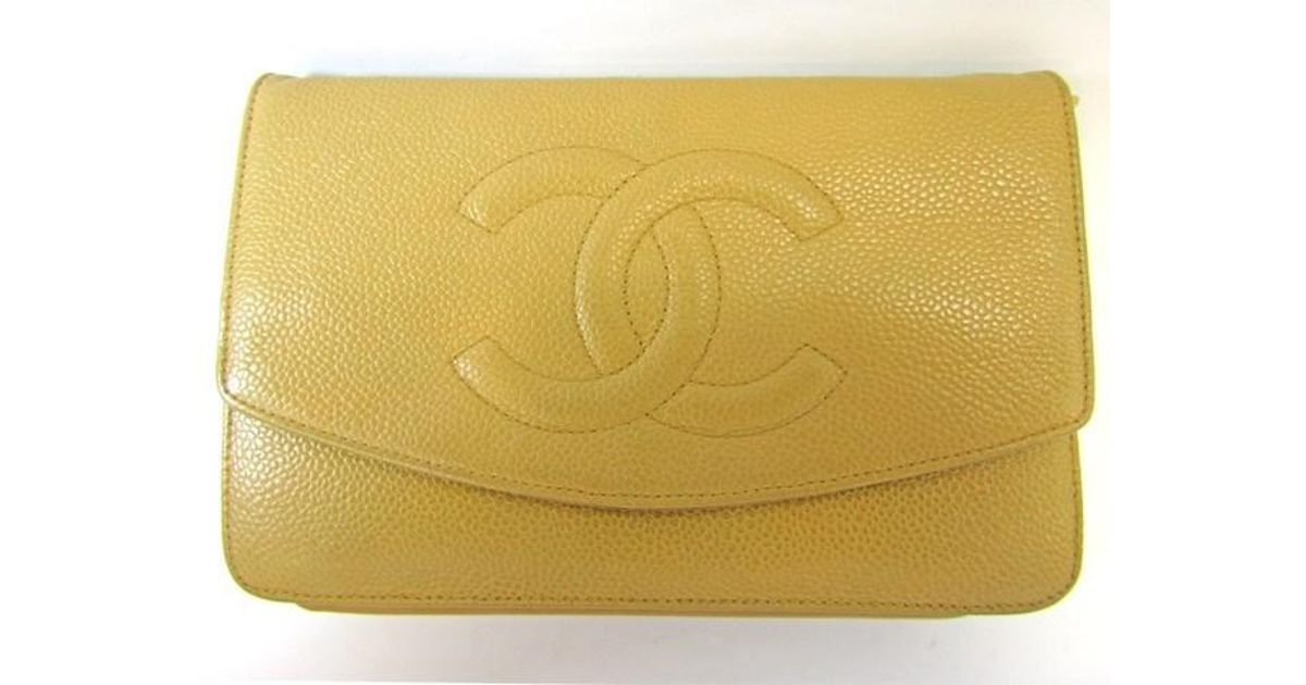 ed1d50c8411a Lyst - Chanel Woc Yellow Chain Shoulder Bag in Yellow