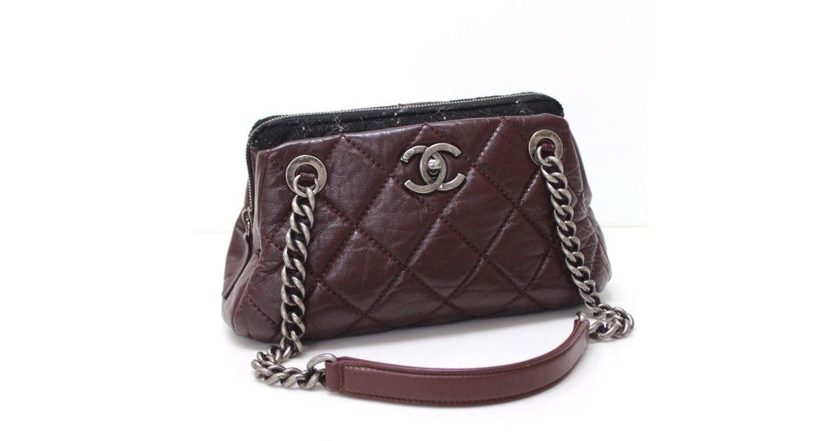 c2edd8ef28 Lyst - Chanel Matelasse Chain Shoulder Bag Dark Bordeaux black in Black