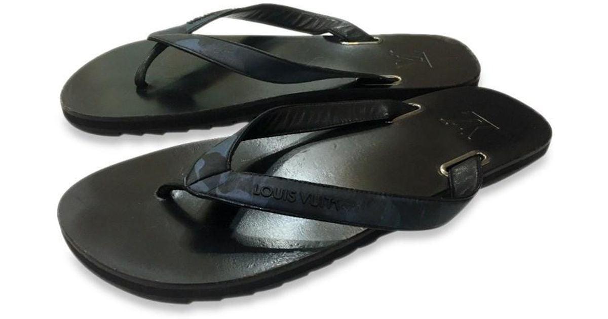 c405eb1626a41b Lyst - Louis Vuitton Men s Beach Sandals Flip-flops Black And Blue Size8 in  Black for Men