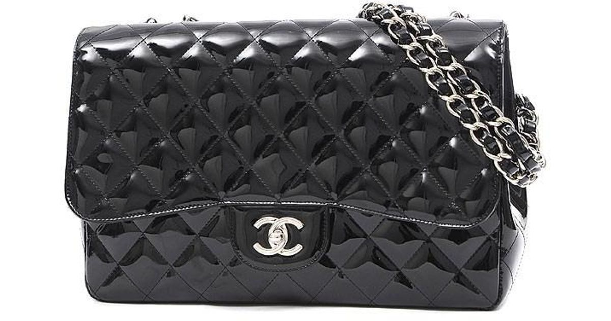 Lyst Chanel Deca Matrasse 30 Wchainshoulder Bag Patent Leather Black Silverhardware In