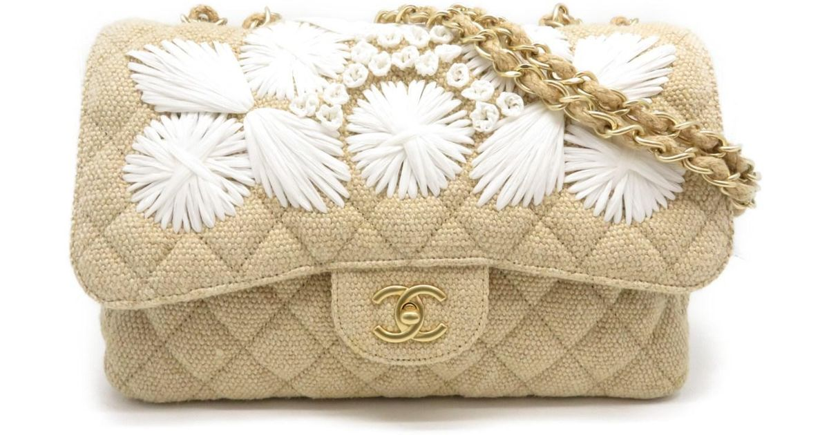 f0aeab8fae46 Lyst - Chanel Jumbo Chain Shoulder Flap Bag Linen Fabric Almond White 3396  in Brown